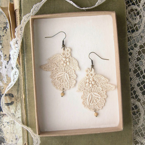 White Owl Lace Jewellery Handmade Etsy Fashion Jewelry Accessories Style Daily Inspiration Blog Indie Craft Sewing Pretty Girly Vintage Earrings