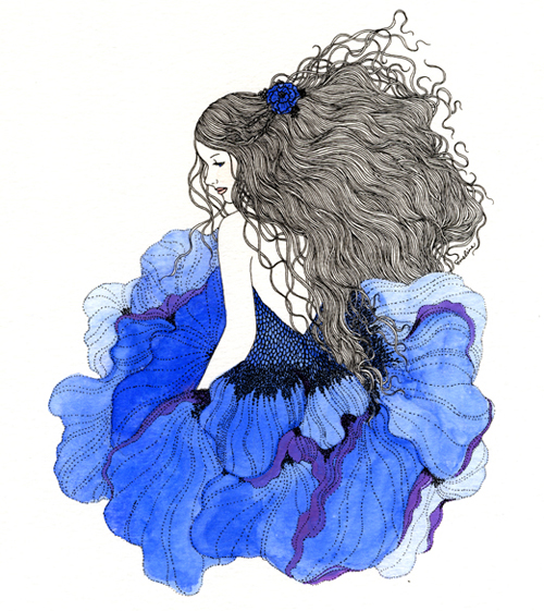 Eveline Tarunadjaja Illustrator Art Print Design Watercolor Cornflower Blue Fairy Fairytale Inspiration
