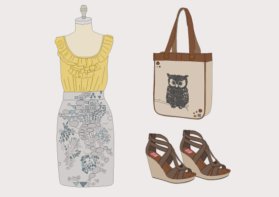 Fashion Style Blog Dress Seaside Sandals Illustration Design Art Inspiration Library Leather Bag Yellow Chartreuse Brown Grey Gray