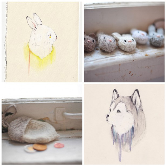 Sarah McNeil Art Illustration Illustrator Artist New Zealand Wellington Kiwi Designer Design Art Style Print Wolf Husky Acorn Rabbit Knit Amigurumi Handmade Etsy Paint Ink Drawing Sketch accessories brooch knitting alpaca yarn soft wool bunny animal cute white