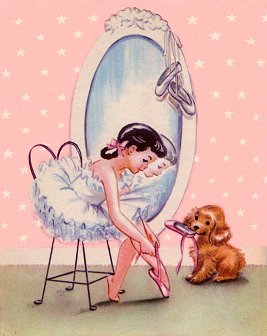 Little Ballerina Dorothy Grider Pink Puppy Nancy Plays Nurse Rand McNally Vintage Elf Book Illustrations Cute 50s Fifties Toys Children