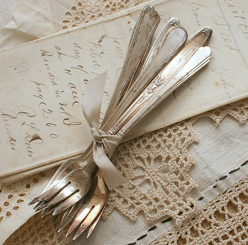 Roberta Grove Vintage Etsy Style Decor Kitchen Daily Inspiration Blog Silver Spoons Lace Old Fashioned