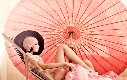 Noa Noa Fashion Fancies Pink Pretty Style Design Art Beauty Parasol Bathing Caps Tulle Pink Model Magazine Inspiration Blog