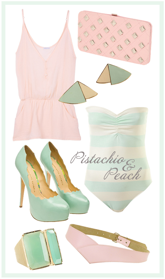 Pistachio Peach Fashion Inspiration Style Pretty Blog Earrings Shop Accessories Clutch Vintage Retro Pink Green Bodysuit Pumps Belt Ring Chrysophase