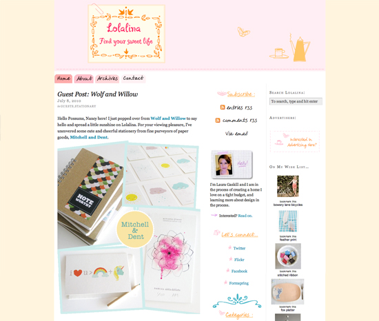 Lolalina Blog Guest Post Wolf and Willow Stationery