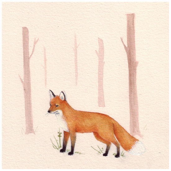 Devon Smith Fox Snow Art Illustration New Zealand Kiwi Artist Illustrator Peachy Print Pretty Inspiration Drawing Painting Sketch Handmade Pale Pastel Soft Watercolour