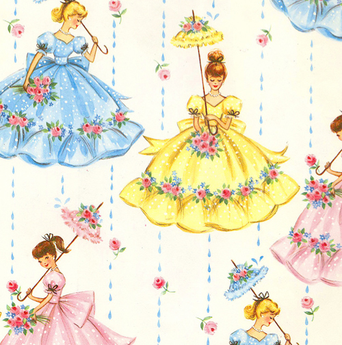 Vintage Wallpaper Bridal Shower Umbrella Pretty Dresses Rain Pattern Retro Gift Birthday Flea Market Parasol Floral Bouquet Yellow Polka Dot Eggshell Blue