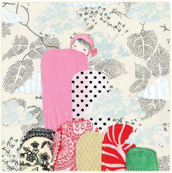 Nikki Catalano Peachy Prints Blog Illustration Illustrator Australian Sydney Art Artist Birds Bunnies Mountain Girl Collage Paper Stitch Thread Fabric Pretty Cute Inspiration Clouds Pattern Pink Blue