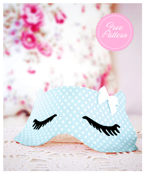 Whats New Pussycat Sleep Mask Eyelashes Freebie Free Download pdf Pattern Sewing DIY Project Sew Tutorial Eye Fabric Polka Dot Blue Cat