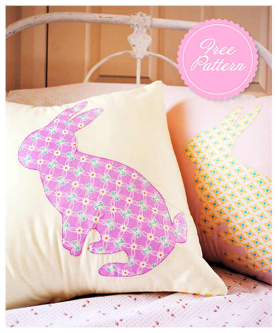Free Sewing Pattern Bunny Pillows Freebie DIY Project Tutorial Easter Sew Stitch Applique Rabbit