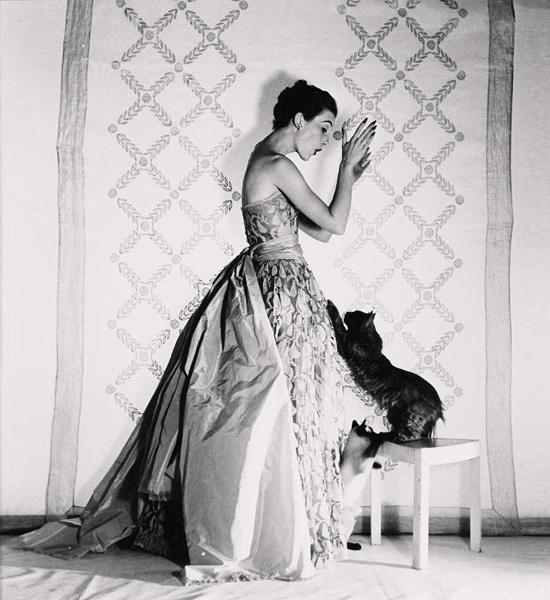 vintage icon black white vogue harpers model mary jane russell sequin fascinator velvet gloves dress