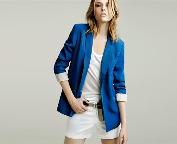 Zara Spain Fashion Blue Blazer Electric Style Spanish White