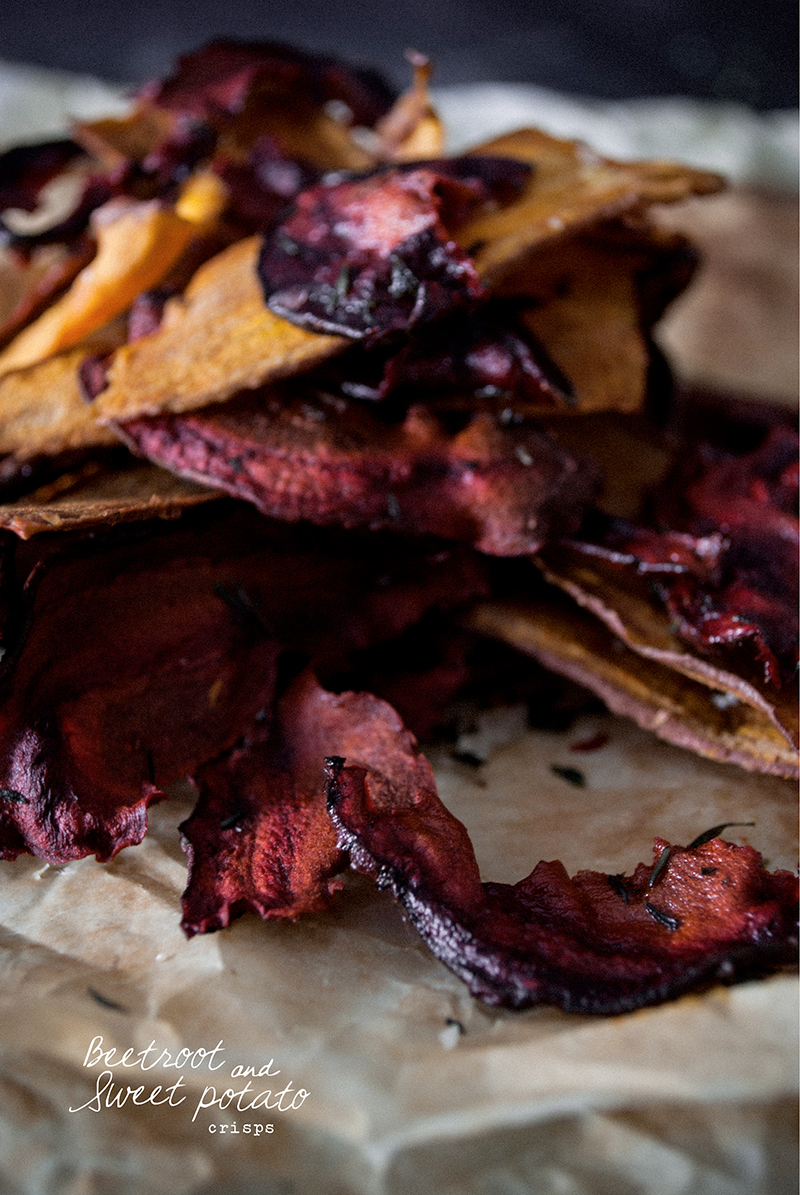 Sugar Free + Vegan - Beetroot and Sweet Potato Crisps