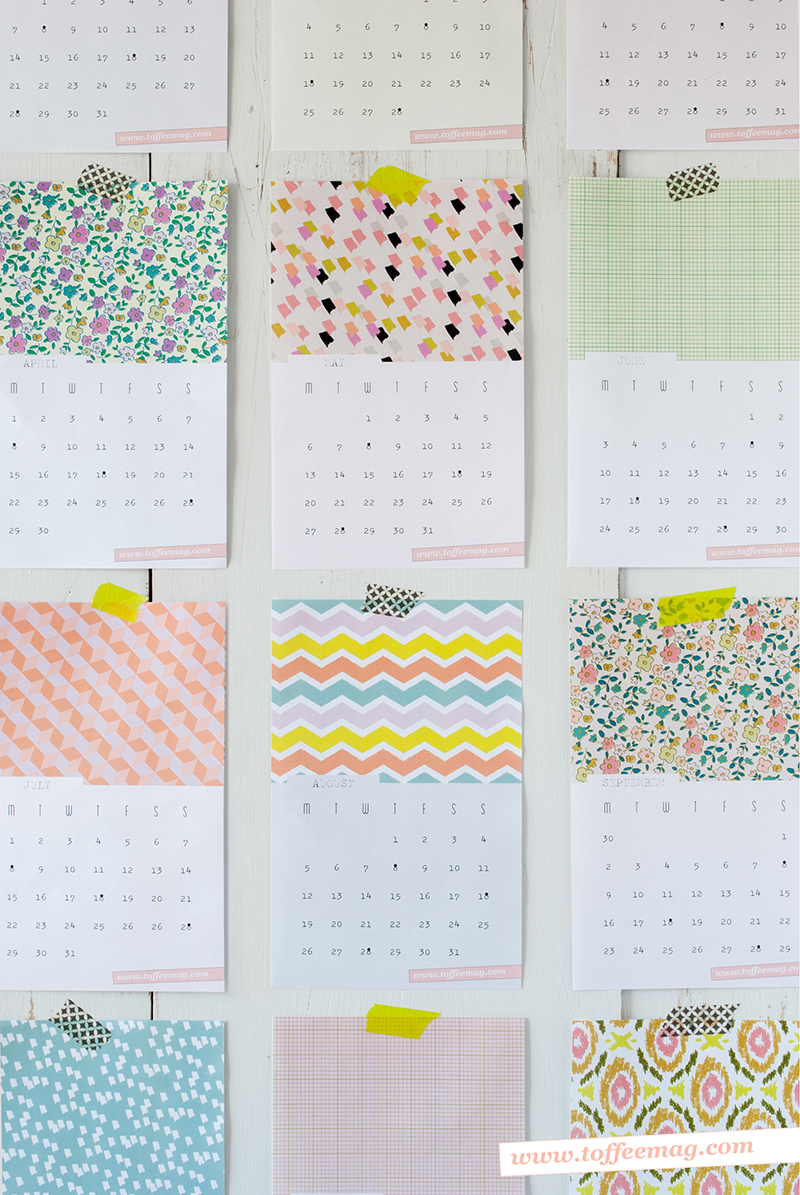 Free Printable 2013 Wall Calendars from Toffee Magazine