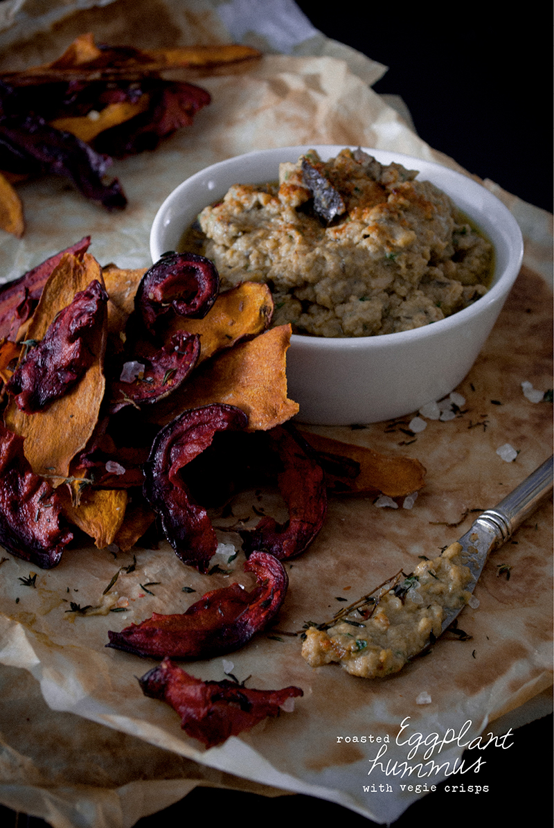 Sugar Free + Vegan - Roasted Eggplant Hummus with Beetroot and Sweet Potato Crisps