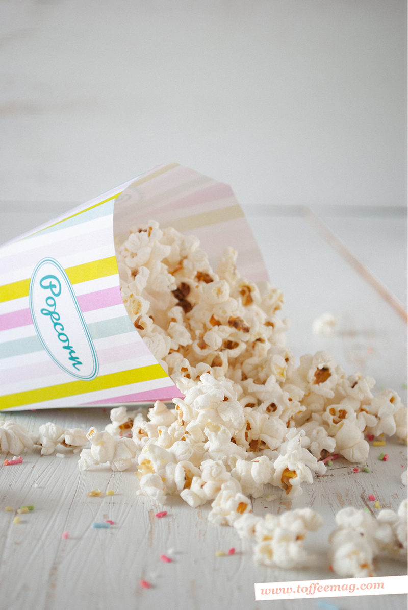 FREE printables inside the latest Toffee Magazine – Cute Popcorn Boxes + Cupcake Toppers